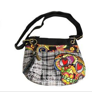 Karma Crossbody Shoulder Bag Purse Skull Applique